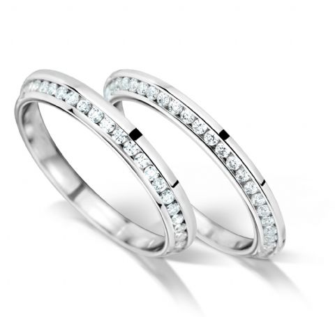 Knife edge inlaid channel set eternity/wedding ring, platinum. 2mm x 2.1mm. Full coverage